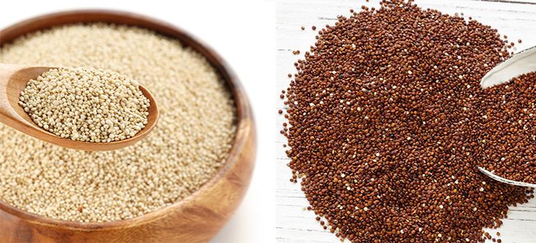 Bild 128380550 copyright Robyn Mackenzie (quinoa rot) und Bild copyright bonchan (quina weiß), 2013 Mit Genehmigung von Shutterstock.com