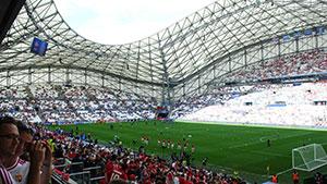 Sicht aufs Spielfeld in Marseille.