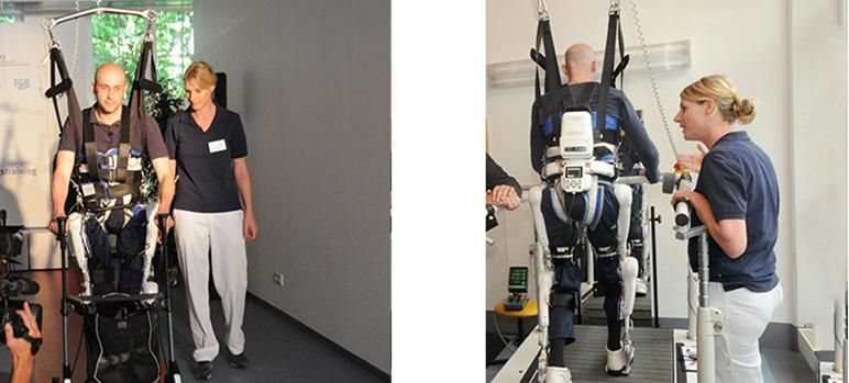 Bild copyright ZNB, 2012 Downlaod aus dem Pressebereich des Klinikums Bergmannsheil unter: http://www.bergmannsheil.de/uploads/media/Neurorobotales_Bewegungstraining_mit_HAL.jpg