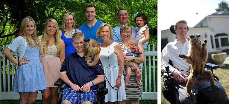 Bild links: Ned, Kasey, Ellen und Familie; Bild rechts: Ned und Kasey
