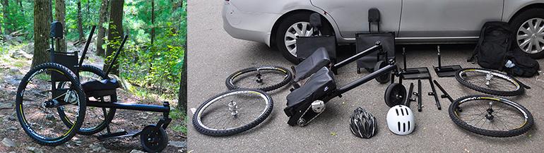 Der GRIT Freedom Chair .... lässt sich für den Transport in seine Einzelteile zerlegen.
