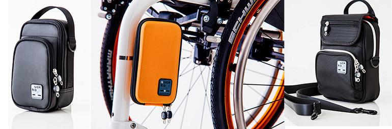 Quokka-Taschen und (bald) neu in Orange: das Quokka Smartphone-Case für Rollstühle.